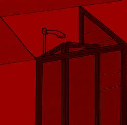 Duschkabine in der Ecke
