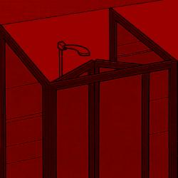Duschkabine frei vor einer Wand