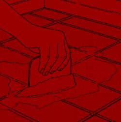 Ist der Kleber ausgehärtet, wird die Bodenfläche verfugt
