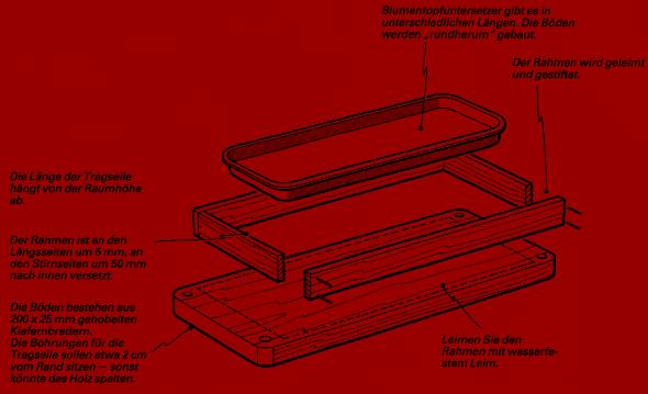 Bauanleitung für ein Hängeregal. Blickfang und Sichtschutz zugleich