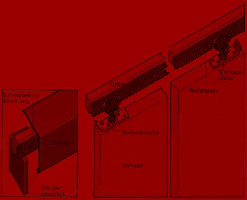 Schienen und Rollen für die Aufhängung gibt es als komplette Bausätze.