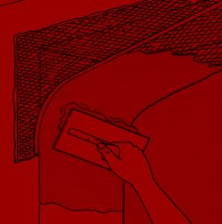 7. Zunächst verputzen Sie die Laibung. Die erste Lage sollte scharf angeworfen werden, damit eine gute Verbindung entsteht.
