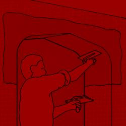 9. Zum Abschluss, wenn der Putz anzuziehen beginnt, an der Oberfläche aber noch weich ist, glätten Sie Laibung und Wände mit der Kelle.