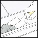 Verstopfte Dachrinne reinigen, Verstopftes Fallrohr