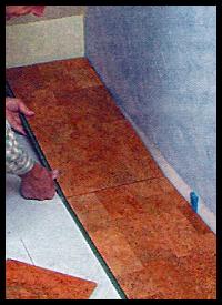 Korkboden, Fertigparkett aus Kork, Verlegeschritte